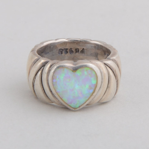 Sterling Silver Ring w/ Lab Created Opal, Heart Design, Detailed Silver Work.