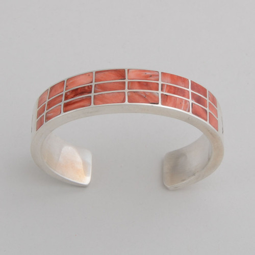 Sterling Silver w/ Orange Spiny Oyster Shell Inlay, Detailed Silver Work.