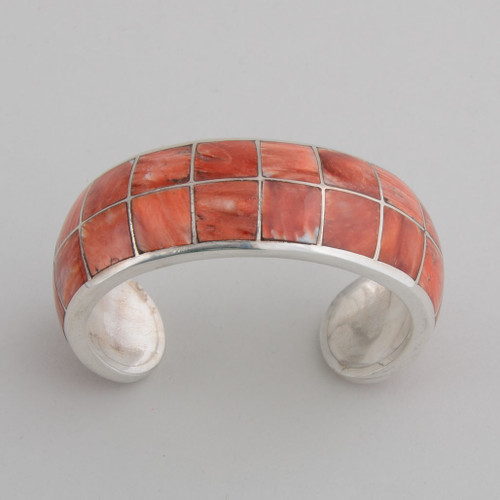 Sterling Silver Cuff w/ Orange Spiny Oyster Shell Inlay.