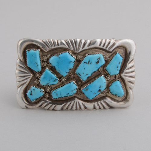 Sterling Silver Buckle with Kingman Turquoise.