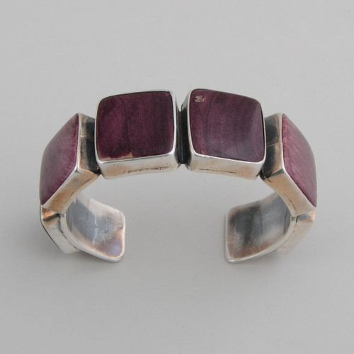 Sterling Silver Cuff w/ Purple Spiny Oyster Shell, 6 Square Design Pieces Set in Silver.