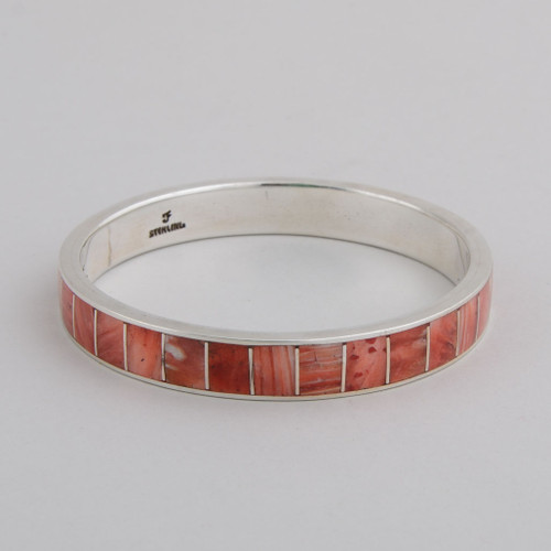 Sterling Silver w/ Orange Spiny Oyster Shell Inlay Bangle.