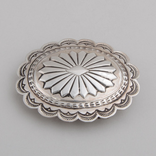 Sterling Silver Buckle with a Dome Curve.  Silver Detail Includes Stamp Work.
