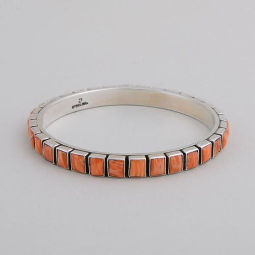 Sterling Silver Bangle w/ Orange Spiny Oyster Shell, Square Tile Design.