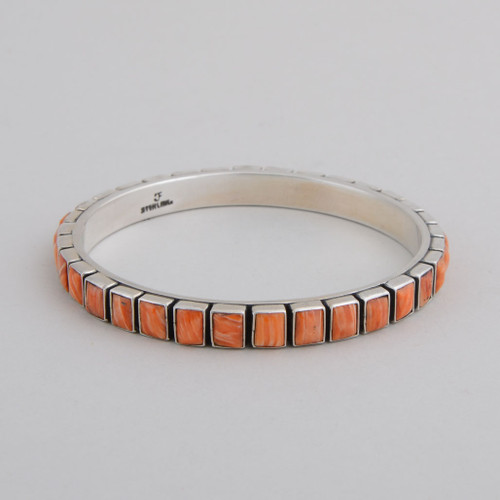 Sterling Silver Bangle w/ Orange Spiny Oyster Shell, Square Tile Design.