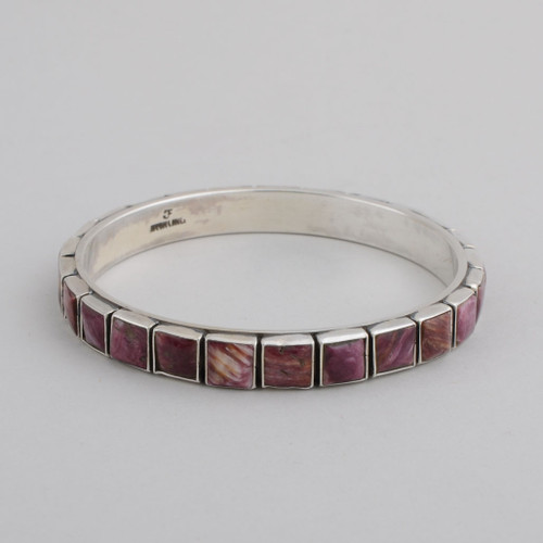 Sterling Silver Bangle w/ Purple Spiny Oyster Shell, Square Tile Design Set in Silver.