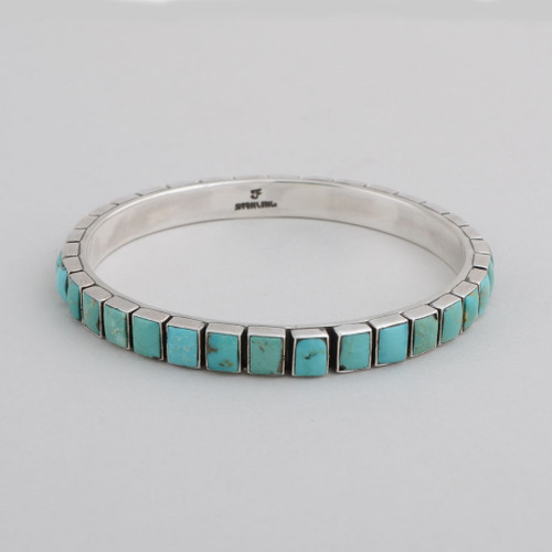 Sterling Silver Bangle w/ Turquoise, Square Tile Design Set in Silver.