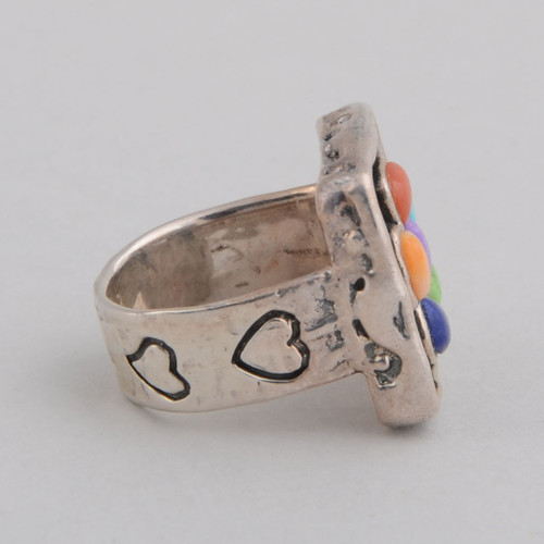This Peyote Bird ring features multiple stones and Sterling Silver.