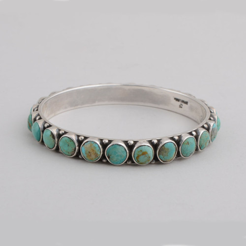 Sterling Silver Bangle w/ Turquoise, Round Stone Design.