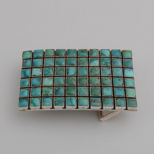 Sterling Silver Buckle w/ Turquoise Tile Design, 60 Stones Set in Silver.