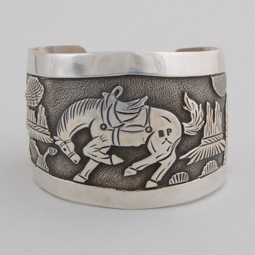 Sterling Silver Cuff w/ Story Book Design, Detailed Silver Work.