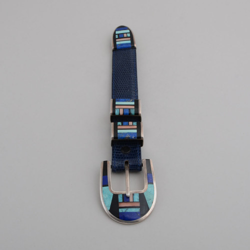 Sterling Silver Ranger Set with Inlay Work.  Stones Include Turquoise, Lapis Lazuli, Black Onyx, Angel Skin Coral.