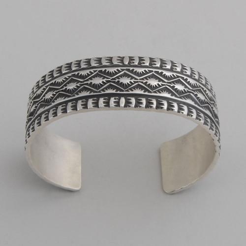 Sterling Silver Cuff w/ Detailed Silver Work.