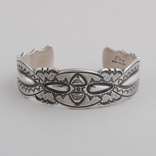 Sterling Silver Cuff w/ Coin Silver, Detailed Silver Work.