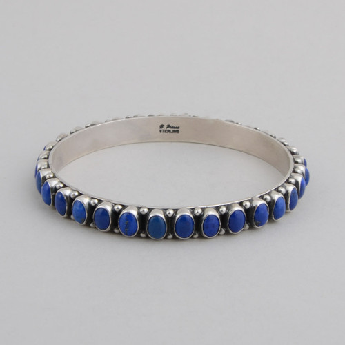 Sterling Silver Bangle w/ Lapis Lazuli Oval Stones Set in Silver.