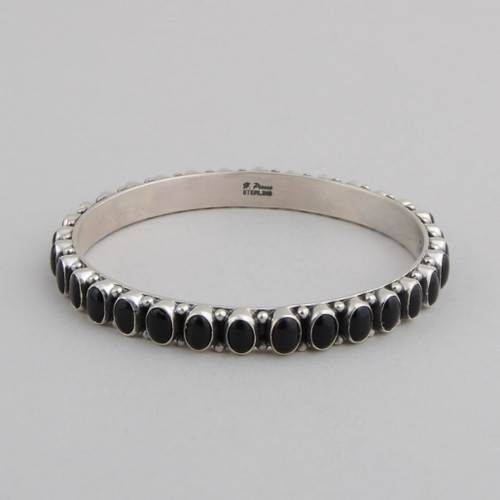 Sterling Silver Bangle w/ Black Onyx Oval Stones Set in Silver.