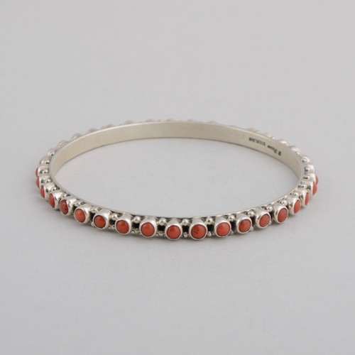 Sterling Silver Bangle w/ Red Coral Round Stones Set in Silver.