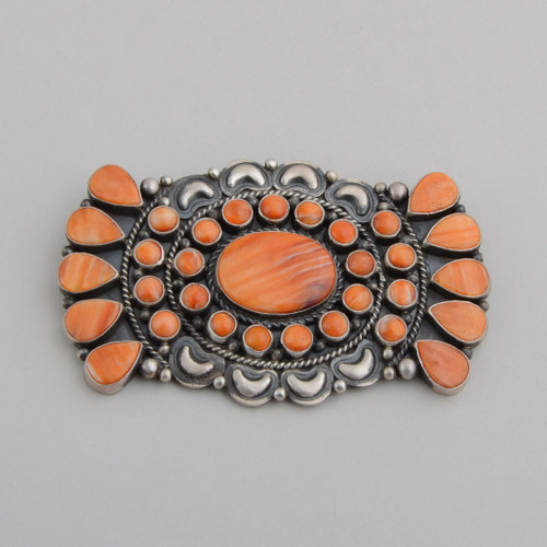 Sterling Silver Pin/Pendant w/ Orange spiny Oyster Shell, Tear Drops and Round Shapes Surround Center Oval. Can be worn as Pin or Pendant.