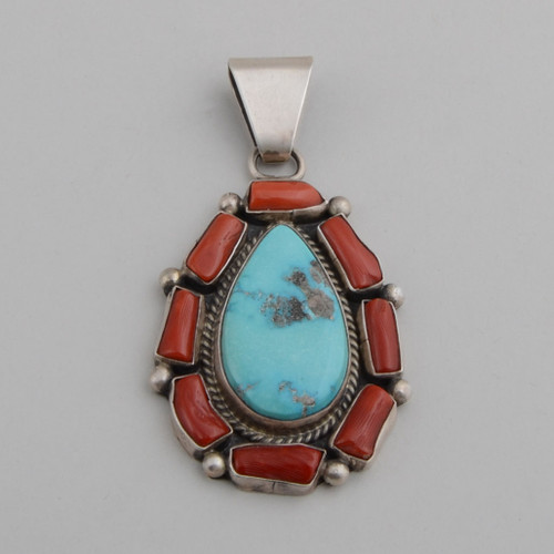 Morenci Turquoise Red Coral Pendant by Running Bear Studio