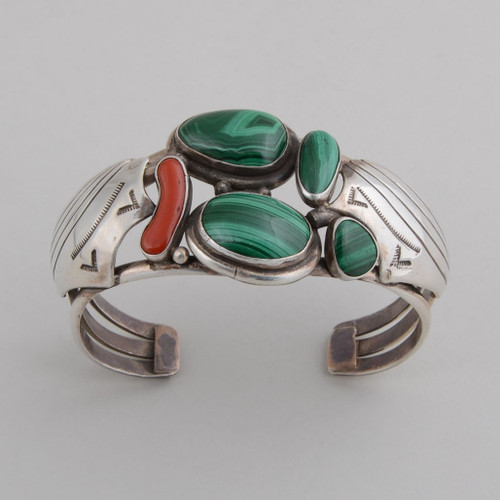 Navajo Made Malachite and Red Coral Bracelet top