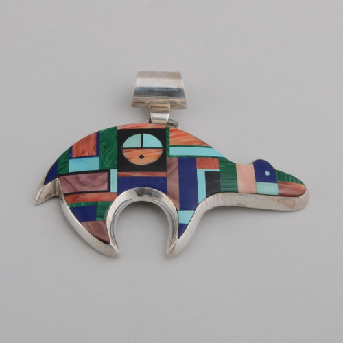 Multi Stone Inlay Bear Pendant by Frank Yellowhorse