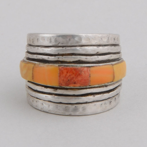 This Peyote Bird ring features Spiny Oyster Shell and Sterling Silver!