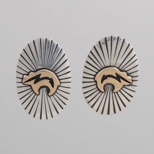 Oval Shaped Sterling Silver & 14K Gold Earrings from MMR Studio