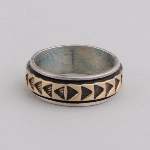 sterling silver & 14K gold ring