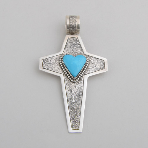 Sterling Silver /w Turquoise Cross  Pendant by G. Boyd