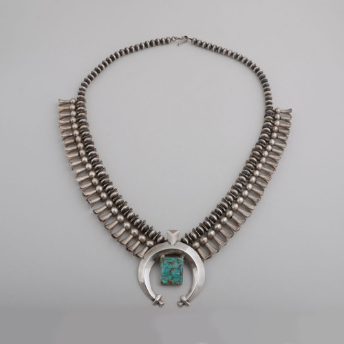 Navajo Made  Squash Blossom Necklace, circa 1950