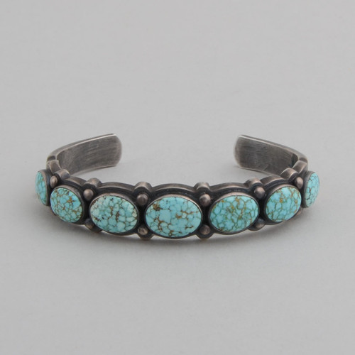 Coin Silver Bracelet with #8 Spiderweb Turquoise.