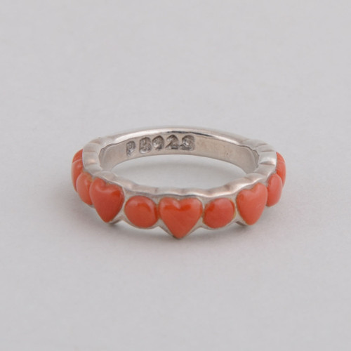 This Peyote Bird ring features Red Coral and Sterling Silver!
