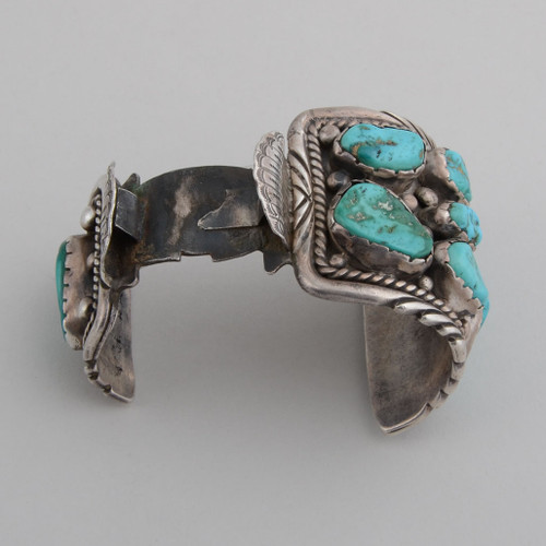Vintage Kingman Turquoise and Sterling Silver Watchband Cuff  top