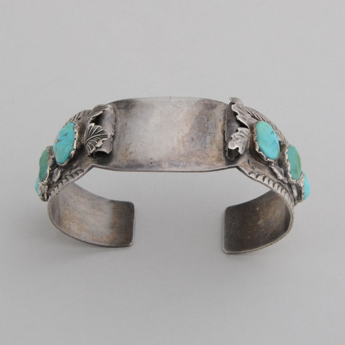 Vintage Turquoise and Sterling Silver Watchband top