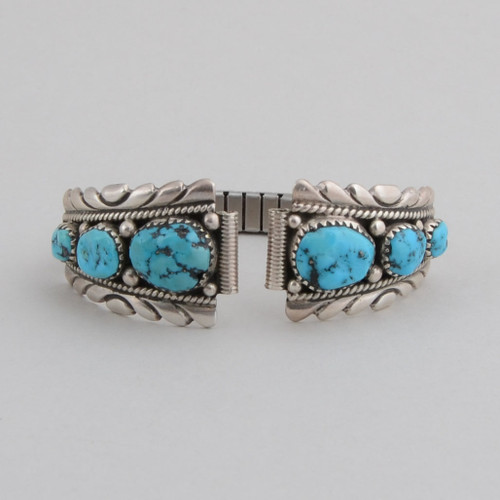Sterling Silver and Turquoise Watchband front