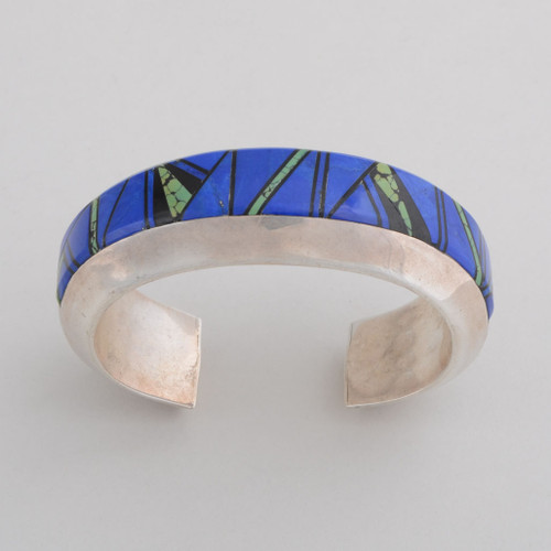 Sterling Silver Cuff Bracelet with Lapis Lazuli, Turquoise and Black Onyx top