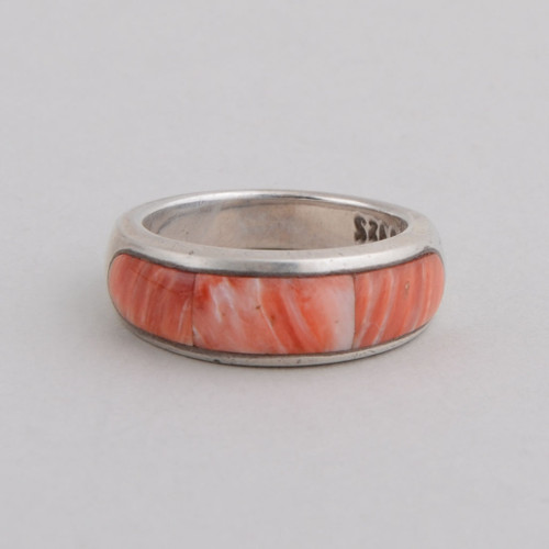 This Peyote Bird ring features Orange Spiny Oyster Shell and Sterling Silver!