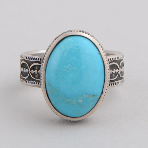 This Peyote Bird ring features Sleeping Beauty Turquoise and Sterling Silver!