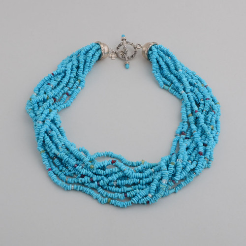 This Peyote Bird necklace is fabulous with 12 strands of Turquoise and Gem accents!