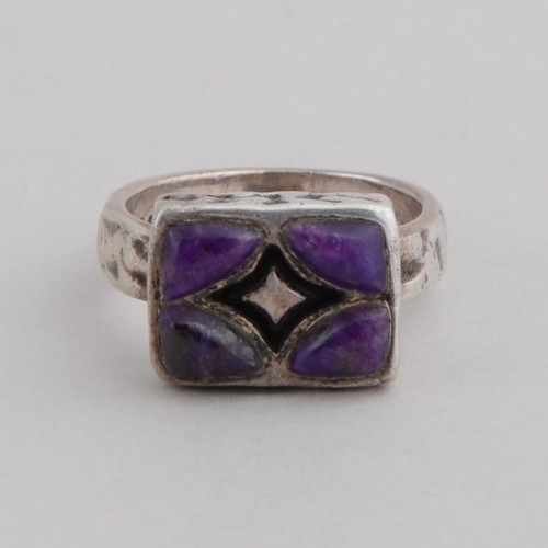 This Peyote Bird ring features rare Sugilite and Sterling Silver!
