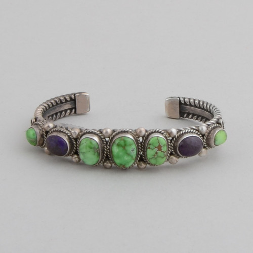 Slender sterling silver cuff with Carico Lake Turquoise and sugilite.