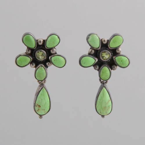 These Peyote Bird earrings feature Gaspeite, Peridot and Sterling Silver!