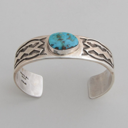 sterling silver cuff with turquoise