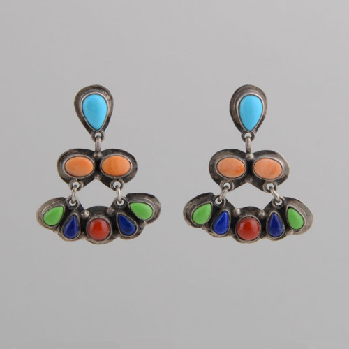This pair of earrings features Multiple Stones set in Sterling Silver.