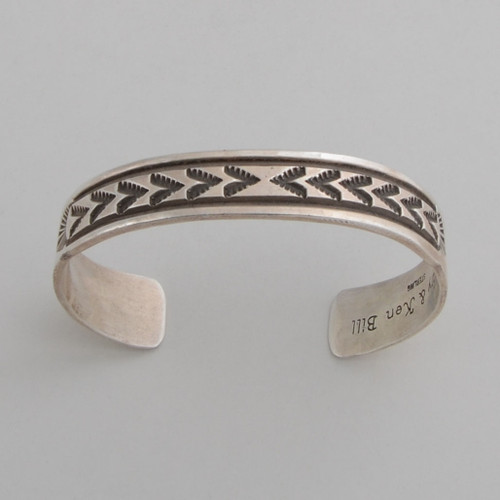 Sterling silver cuff with stamp work.