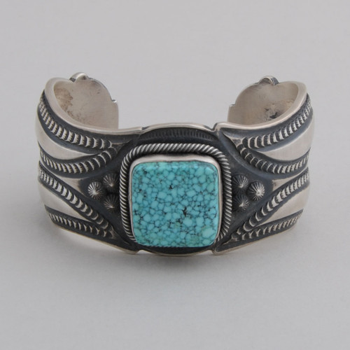 Sterling Silver with Kingman Spiderweb Turquoise, Magnificent Repousse work.