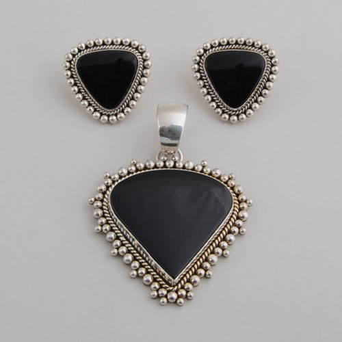 Sterling Silver with Black Onyx set, Post earrings.