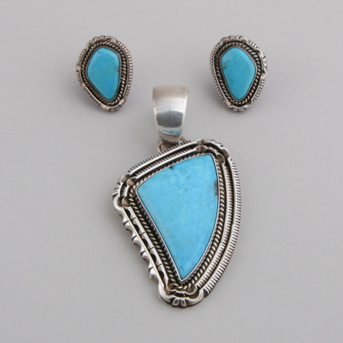 SterlingSilver with Blue Bird Turquoise pendant and earring set, Post Earrings.