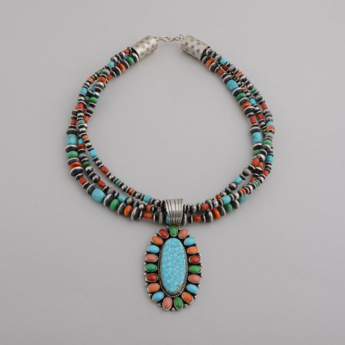 This is a great piece that can be worn together or take the pendant off and wear the beads only or put the pendant on another chain.