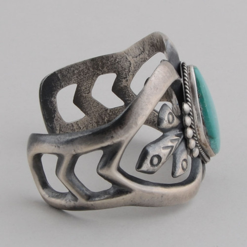 Traditional sandcast cuff with Turquoise, Sterling Silver, no Hallmark.